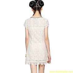 #Swanmarks Liebo 2012 New Lace Embroidered Chiffon Short Sleeve Dress