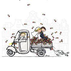 Een icoon, de Italiaanse driewieler, de Piaggio Ape met bruidspaar en veel bloemen