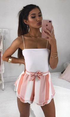 beautiful summer outfit idea / white top and striped high weist shorts