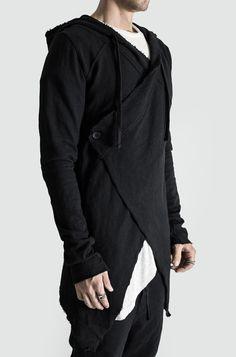 Nicolai Spicher — Thom Krom |Cross Front Hooded Cardigan | Found... China Fashion, Dark Fashion, Urban Fashion, Mens Fashion, Street Fashion, Cyberpunk Mode, Cyberpunk Fashion, Cosplay Outfits, New Outfits