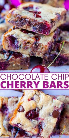 Chocolate Chip Cherry Bars — These cherry bars use my favorite blondie base and turn out perfectly every single time! These bars are seriously so good and are a reader favorite! Cherry Desserts, Healthy Desserts, Dessert Recipes, No Bake Desserts, Dessert Ideas, Yummy Treats, Sweet Treats, Cherry Bars, Best Sweets