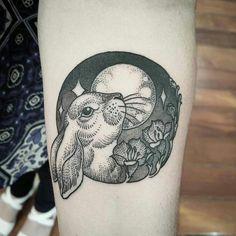 Rabbit moon tattoo