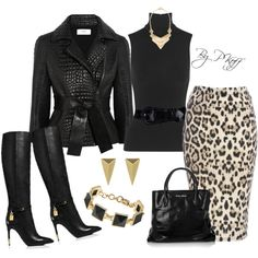 Black Leather & Animal Print // A fashion look from October 2014 featuring Donna Karan tops, Fendi jackets y AX Paris skirts. Browse and shop related looks. Mode Outfits, Fashion Outfits, Womens Fashion, Fashion Trends, Classy Outfits, Stylish Outfits, Work Fashion, Fashion Looks, Outfit Elegantes