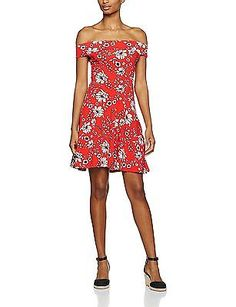 14, Red, Dorothy Perkins Women's Floral Off the Shoulder Bardot Dress NEW
