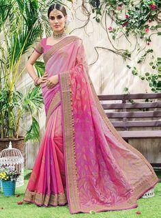Pink Art Silk Engagement Wear Saree 86874