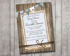 boy baby shower invitation rustic wood blue bunting banner vintage shabby printable customizable digital file