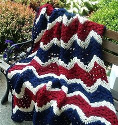 Love this HAND CROCHETED Decorative Patriotic Throw in Red White and Blue! #etsyfind #etsylove #cbloggers #bloggers