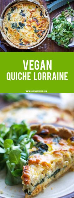 Here's how you can make the popular quiche Lorraine – vegan! This delicious vegan quiche Lorraine has the perfect 'cheesy' and 'buttery' texture of the original French recipe without any dairy! #veganrecipes #french #quiche