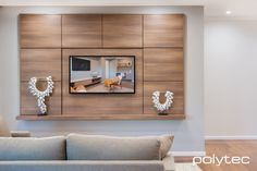 Media wall unit in Sepia Oak Ravine. Timber Walls, Timber Panelling, Laminate Wall Panels, Media Wall Unit, Best Tv Wall Mount, Modern Tv Wall Units, Laminate Colours, Tv Unit Design, Living Room Storage