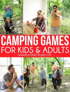 - Camping - Fun camp games for adults, for teens, and even for kids! Great games to play ind. Fun camp games f. Fun Camp Games, Camping Games For Adults, Group Camping, Summer Camp Games, Camping Activities For Kids, Camping Snacks, Backyard Camping, Activities For Adults, Camping Parties