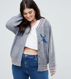 Junarose Bomber Jacket With Embroidery - Gray