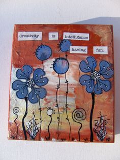 Whimsical Blue Flowers - mixed media