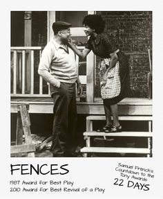We were so busy seeing theatre over the weekend that we missed our countdown to the Tony Awards! FENCES by August Wilson is our featured title for Saturday.   The roles of Troy and Rose Maxson have earned Tony Awards for all actors who have played them on Broadway: James Earl Jones and Mary Alice in 1987, and Denzel Washington and Viola Davis in 2010. #tonyawards #samuelfrench