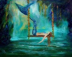 Mermaid Painting Print Mermaids Art print by LeslieAllenFineArt, Etsy.com