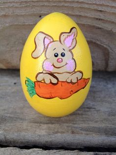 Handpainted easter egg bunny with carrot by WendyPlank on Etsy