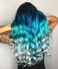 Are you looking for unique hair color ideas for winter and spring? See our collection full of unique hair color ideas for winter and spring and get inspired! hair, 82 Unique Hair Color Ideas For Winter and Spring Diy Ombre Hair, Blue Ombre Hair, Ombre Hair Color, Blonde Color, Blue Hair Colour, Bright Colored Hair, Blue Tips Hair, Ombre Green, Blonde Streaks