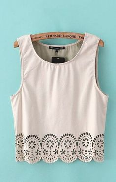 Love Love Love this Hollow-out Hem Sleeveless T-shirt! Awesome Detailing! #Spring #Summer #Fashion$