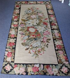Stunning Hand Stitched Woolwork Needlepoint Roses Tapestry Panel