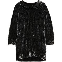 Miu Miu Sequined wool sweater (495 CAD) ❤ liked on Polyvore featuring tops, sweaters, dresses, miu miu, black top, woolen sweaters, chunky knit sweater, drop shoulder tops and black chunky knit sweater