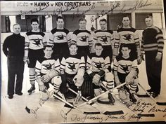"1934 ice hockey team photo of the Richmond Hawks in Uk Players Earle Nicholas, Ivan Nicholsen, Dick Campbell, Leonard Godin, Jee Beaton, Jimmie Foster, John Conrad, Edgar ""Chop"" Brembley. Photo signed to former player Jimmy Forsyth."
