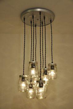 Mason Jar Chandelier Pendant Light Fixture 8 JARS by wiresNjars