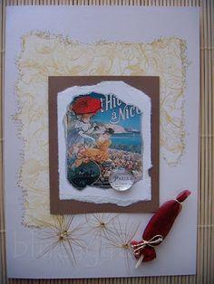 card with retro lady & umbrella