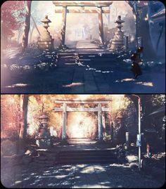 07:11:47 代々木八幡の鳥居 第1話、鳥居の前を貴樹と明里が走り過ぎるシーン。この位置から見た風景。