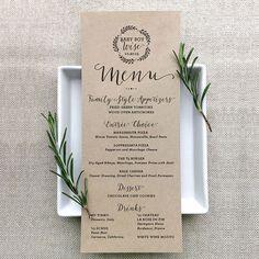 Custom individual menus for each guest. #wedding #rusticwedding #kraft #custommenu