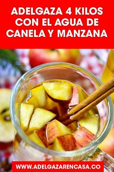 Slim 4 kilos with cinnamon and apple water, Healthy Juices, Healthy Drinks, Healthy Recipes, Apple Water, Healthy Life, Healthy Eating, Weight Loss Meal Plan, Tea Recipes, Detox Drinks