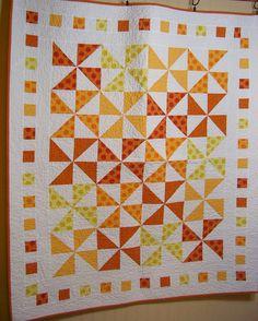 Citrus Orange Lap Quilt Orange Yellow White. $160.00, via Etsy.