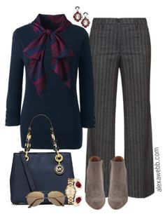 Plus Size Bow Blouse Work Outfit - Plus Size Fashion for Women - alexawebb,com - #alexawebb