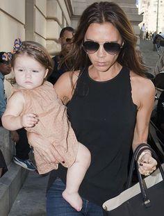 Harper Seven Beckham with her mother Victoria.