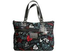 Coach Poppy Graffiti Hearts Glam Shoulder Bag Purse Tote 16052 Black Multi