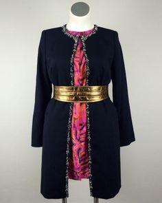 Magaschoni Navy Blue Rhinestones Jacket Beaded Evening Coat Size 14 Plus Size #Magaschoni #LongJacket