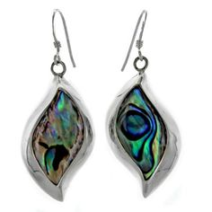 Abalone Earrings: Sterling Silver Abalone Wave Bezel Dangle Earrings - Fire and Ice
