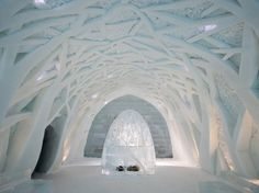 The entryway of the Icehotel in Jukkarsjärvi, Sweden, welcomes guests to its cool accommodations.