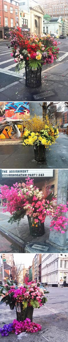 new york's trash cans turned into flower vases! <3 lewis paul miller