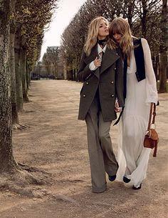 Chloé's FW15 campaign starring Anja Rubik and Julia Stegner in Paris.