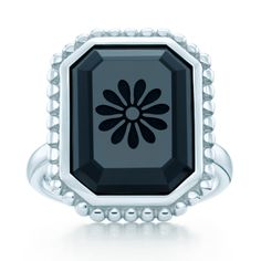 In my dreams  Tiffany & Co. Ziegfeld Collection daisy ring with a cushion-cut carved black onyx in sterling silver.