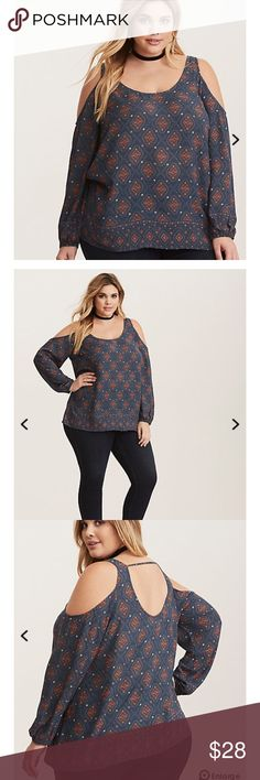 New Torrid Geo Cold Shoulder Top 2X NWT Torrid Blue geo print cold shoulder top. All the rage ! Product description from torrid site in pic 4 torrid Tops Blouses