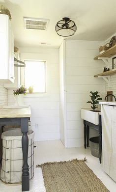Love the counter with legs in front. This farmhouse laundry room makeover is amazing! Go check out this One Room Challenge room reveal. Basement Laundry, Farmhouse Laundry Room, Laundry Room Organization, Laundry Room Design, Laundry In Bathroom, Small Laundry, Organization Ideas, Farmhouse Style, Laundry Baskets
