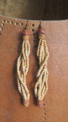 African dangle earrings Mali tiny clay bead bauxite by FromGhana