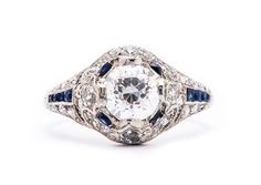 Mulberry - another Edwardian diamond and sapphire engagement ring from Trumpet & Horn to tickle your fancy! | $13,500