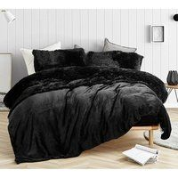 Are You Kidding Black Plush Sheets. Softest sheets for Twin XL, Queen, and King Beds - All About Decoration Bedroom Inspo, Bedroom Sets, Bedding Sets, Bedrooms, Bedroom Décor, Trendy Bedroom, Bedroom Storage, Bedroom Black, Black Bedding