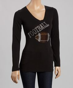 Look at this Black 'Football'  Tee - Women & Plus on #zulily today!
