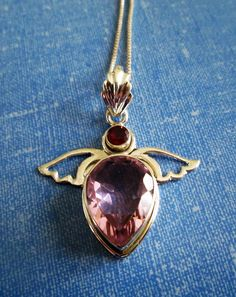 NECKLACE - ANGEL WINGS - Kunzite - Garnet - Large Detailed Bail - 925 - Sterling Silver - 18 Inch - necklace234 by MOONCHILD111 on Etsy