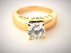 """Rhinestone Solitaire Ring """"I Love You"""" Band Gold Tone Valentine's Gift 5.75 #Unbranded #Solitaire"""