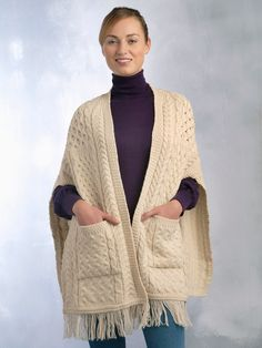 Aran Crafts Aran Womens Wool Cable Knit Irish Cable Pattern Pocket Shawl Sweater