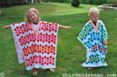 a bird and a bean: towel ponchos