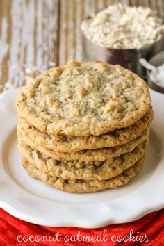 Coconut Oatmeal Cookies - so soft, chewy and tasty! You can never eat just one! { lilluna.com } #cookies